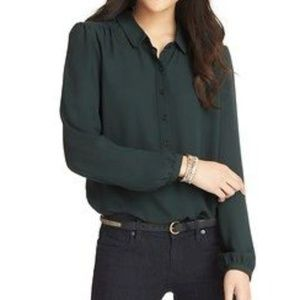 LOFT Green Henley Blouse Size M